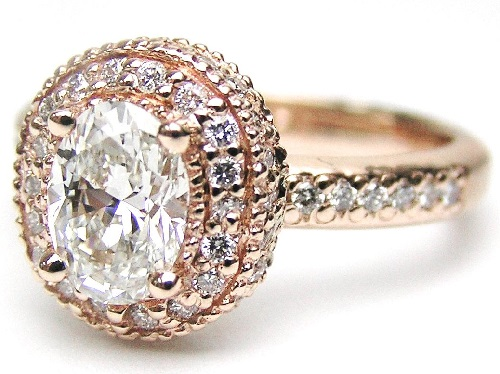 antique wedding ring in halo